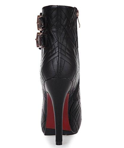 YCMDM à talons hauts bottes plateforme étanche Boucle de ceinture Mode Chaussures Femmes Nouvelle Mode Tempérament Printemps Automne Winterapricot Rouge Noir 33 34 35 36 37 38 39 40 Black