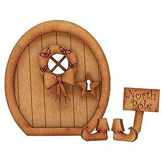 NORDPOL Fairy Tür. dreidimensionale Selbstmontage Kit Fairy Tür Craft Holz mit Holly Kranz, 'North Pole' Zeichen & Elf Stiefel