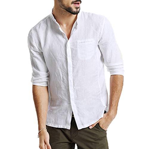 KUKICAT Herren DREI Jahreszeiten Vintage Leinen Solide Kurzarm Vintage T-Shirt Top