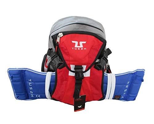 Tusah Mochila para Taekwondo Pro-Back Pack con tierna Peto Externo para Artes Marciales Taekwondo Karate Kick Boxe (Gris)