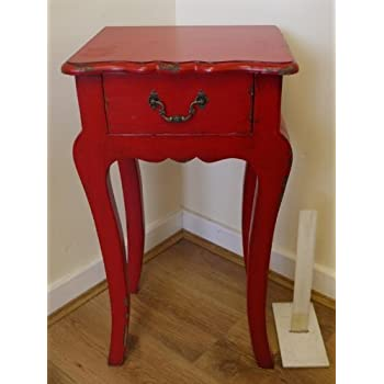 Shabby Chic Bedside Table Cabinet Antique Vintage Lamp table Wooden Distressed Finish Beige/ Red/ Black (View amazon detail page) (Red)