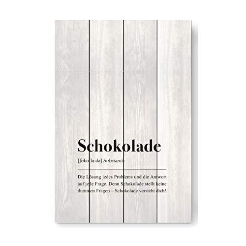 artboxONE Holzbild 60x40 cm Typografie Schokolade Definition (deutsch) von Künstler Pulse of Art