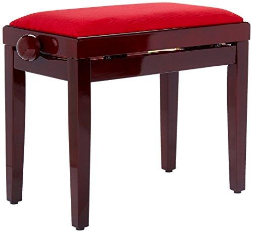 Mahagoni-massivholz Sitz (FX F900568 Pianobank Mahagoni hochglanz, Sitz bordeaux, höhenverstellbar)