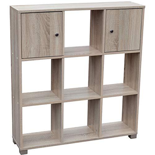 2 Regal Bücherregal Eiche (My-goodbuy24 Raumteiler 7 Fächer + 2 Türen Bücherregal Standregal Aufbewahrung Regal Sonoma Eiche 99,5 x 90 x 24 cm)