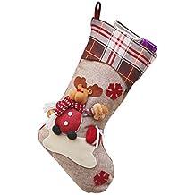 YiLianDa Año Nuevo Medias De Navidad Calcetines A Cuadros De Santa Claus Regalo Del Caramelo Decoración