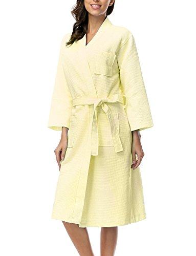 Belloo Damen Einfarbiger 100{a2e0d3f385f8faf1faa8b9f87cef66541e58ec618f7b88b3faf7f06d2f624e63} Baumwolle Waffel Bademantel Kimono für Frauen, Gr. XL, Farbe: Gelb