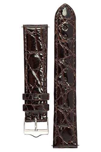 signature-royal-in-dark-brown-18-mm-short-watch-band-replacement-watch-strap-genuine-crocodile-skin-