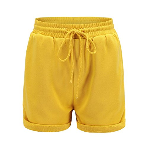 Damen Sommer Shorts Luckycat Kurze Sporthose Damen Frauen Einfarbig Hohe Taille Curl Beach Shorts Hot Pants Shorts Hose Sommerhosen Pants Hosen (Grau, X-Large)