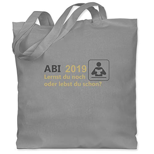 Shirtracer Abi & Abschluss - ABI 2019 - Lernst du noch oder lebst du schon? - Unisize - Hellgrau - WM101 - Stoffbeutel aus Baumwolle Jutebeutel lange Henkel
