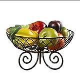 XOTF Piatto di Frutta Grande Ciotola di Frutta capacità del Metallo di Modo Creativo Cesto di Frutta Cucina deposito cremagliera Cesto delle Famiglie Europee (Colore : Nero)