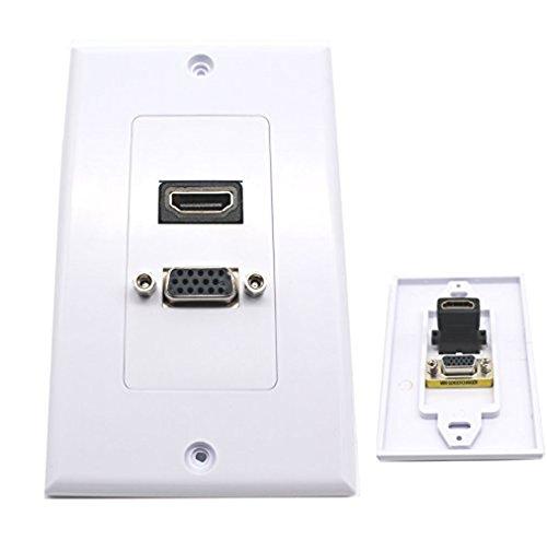 Maxhood Piastra da muro con uscite HDMI 1080 p e jack AV, connettori placcati oro 1HDMI+1VGA