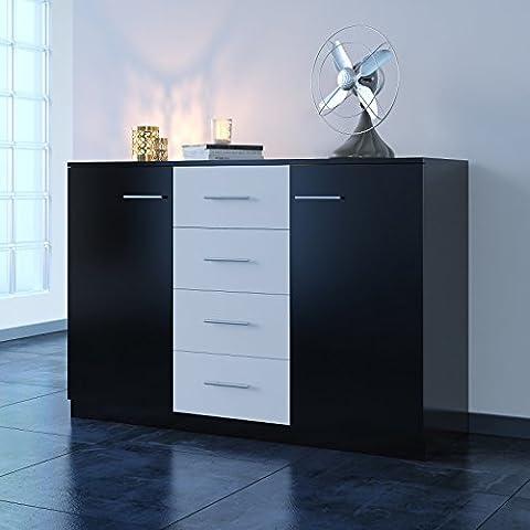 Home Source Sideboard Black & White Large Cupboard 2 Door 4 Drawer Internal Shelving
