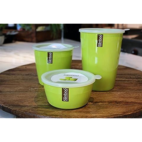 [3 Pack] contenitore per alimenti/contenitore - Set Barattoli/contenitori di melammina plastica by Pure Bamboo - verde Lunch Box - lavabile in lavastoviglie