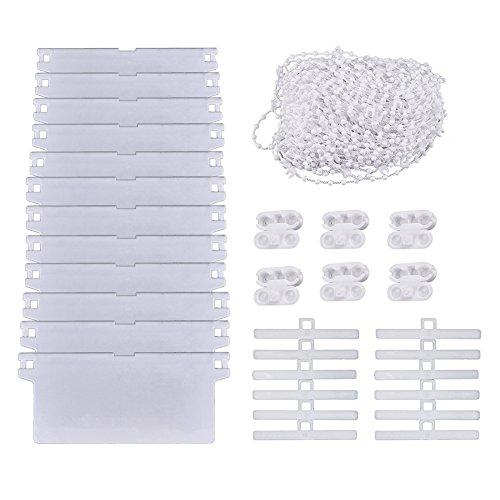 SAIYU Vertikal Jalousieset Vertikal Jalousie Reparatursatz mit 12 Pack 45 mm * 89 mm Weißboden Gewichtslamellen 12 Pack Top Aufhänger und 10 M Vertikal Blindbodenkette mit 6 Kunststoff Kettensteckern