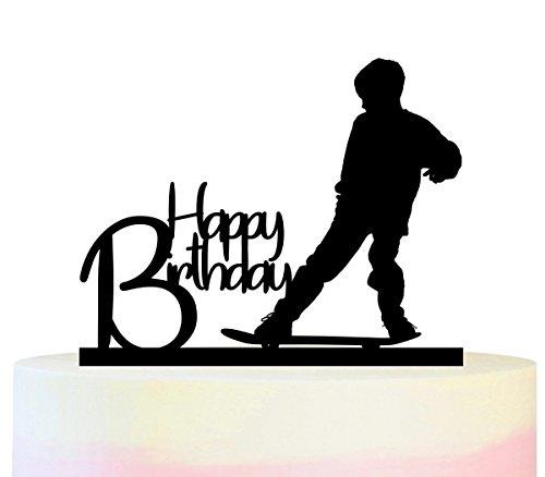 Innovedesire Happy Birthday Skateboard Boy Kuchenaufsätze Hochzeit Geburtsta Acryl Dekor Cupcake Kuchen Topper Stand für Kuchen Party Dekoration 11 Stück