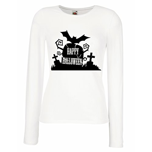 Weibliche langen Ärmeln T-Shirt Halloween Graveyard Outifts - Costume Ideas - Cool Horror Design (Medium Weiß Mehrfarben)