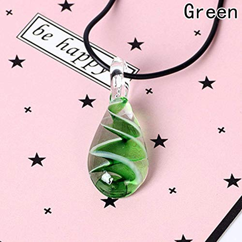 xianhuzhenzhen Set Wassertropfen Form Spirale Murano Lampwork Glas Perlen Anhänger Halskette Ohrringe Lila für Geburtstag, Valentinstag, Jahrestag - grün