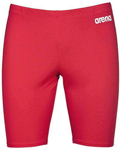 arena Herren Wettkampf Badehose Solid Jammer (Schnelltrocknend, UV-Schutz UPF 50+, Chlorresistent, Kordelzug), Red-White (45), 4