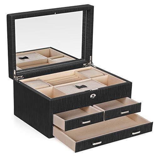 SONGMICS Schmuckkästchen, verschließbarer Schmuckkasten, Schmuck-Organizer, mit großer Innenspiegel, 3 Schubladen, robuster Rahmen, Geschenk für die Liebsten, Schwarz JBC230BK - Schmuck Große