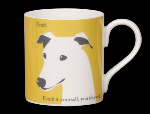Silhouette Porzellantasse mit Whippet-Motiv und Aufschrift Fetch. – Fetch it yourself. (8d-box)