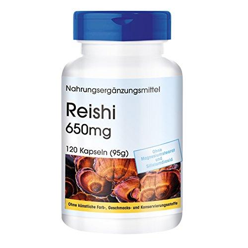 Foto de 120 cápsulas vegetarianas de reishi 650, Ganoderma lucidum, Sustancia pura y sin aditivos