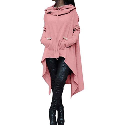 LILICAT Frauen Mantel Cardigan Long Sweatshirt Hoodie Einfarbig Kapuzenpullover Casual Damen Tuniken Langarmshirt Oversize Sweatshirt Übergroß Bluse Minikleid Strickjacke (M, Rosa) (Chiffon-camisole Stricken)