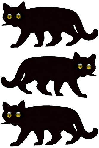 3x Garten Schreck-Katze mit reflektierenden Murmelaugen - Katzenabschreckung