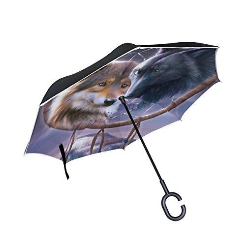 jstel doble capa invertida Atrapasueños lobo paraguas coches Reverse resistente al viento lluvia paraguas para coche al aire libre con asa en forma de C