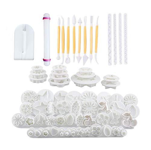 21Sets (68pcs) Fondant Kuchen dekorieren Werkzeug, Kuchen Cookie Cutter Form Sugarcraft Icing Dekorieren Blume Modellierwerkzeuge - Star Plunger Cutter