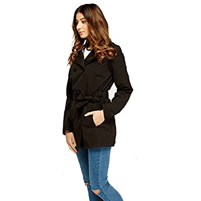 Ladies Women Trench Coat Mac Fashion Button Tie Up Double Belted Breasted Jacket