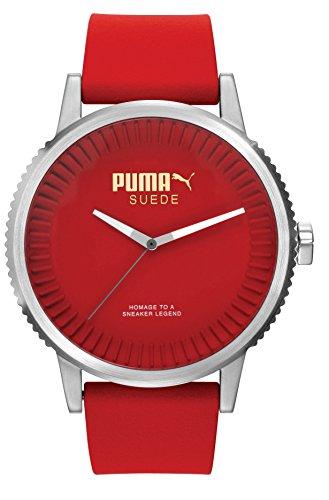 Puma Time Unisex-Armbanduhr 10410 SUEDE - RED Analog Quarz Silikon PU104101004