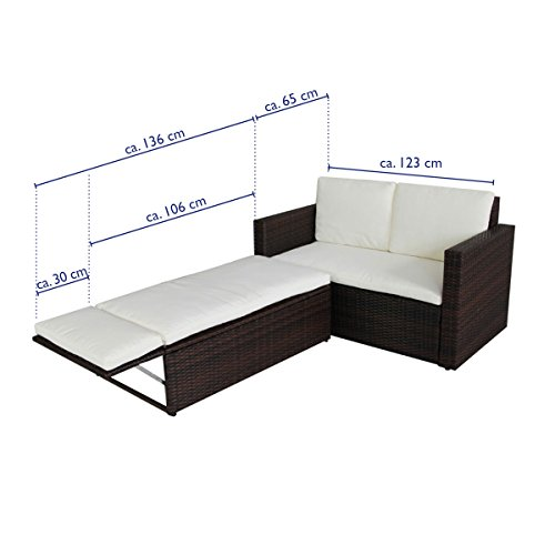 SVITA POLY RATTAN Lounge Gartenset Sofa Garnitur Polyrattan Gartenmöbel (Braun) - 5