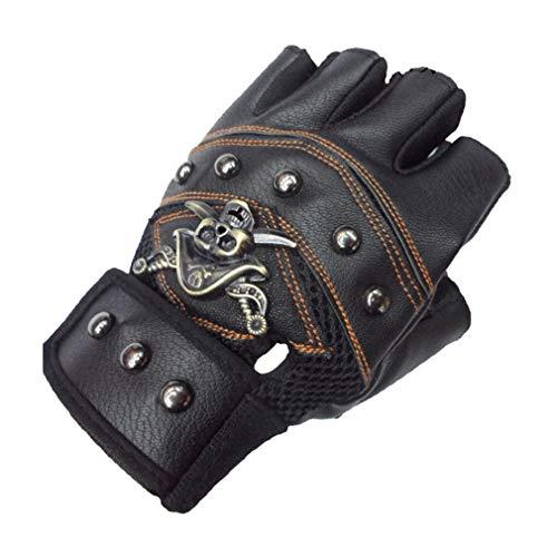 Mode Schädel Fingerlose Handschuhe Kunstleder Motorrad Radfahren Halbfingerhandschuhe Verzierte Metall Schädel Gothic Punk Stil für Männer oder ()