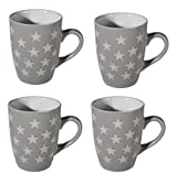 Kaffee-becher Steingut Sterne Style Kaffee-tasse Star Porzellan Stern Design (Grau)