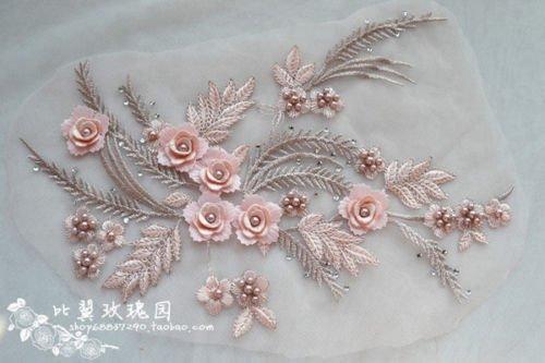 Applique di pizzo d con perline a per abiti da sposa cm x