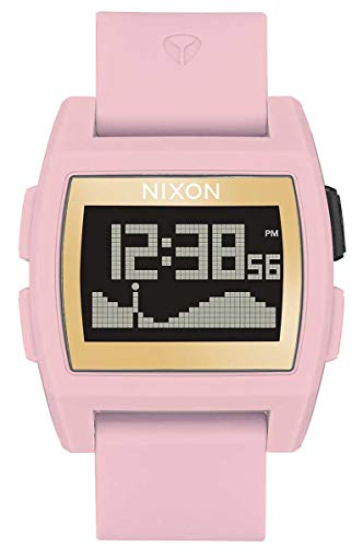 Nixon Base Tide Soft Pink/Gold/LH Men's Surf Watch with Silicone Band (38mm. Gold & LH Face/Soft Pink Silicone Band)