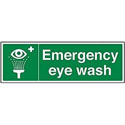 vsafety 23022bj-r lavaojos de emergencia condiciones de seguridad general señal, plástico rígido, paisaje, 450mm x 150mm, color verde