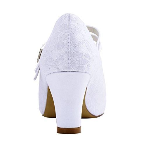 ElegantPark HC1701 Mary Jane Block Absatz Pumps Geschlossene Zehen Lace Satin Brautschuhe Weiß