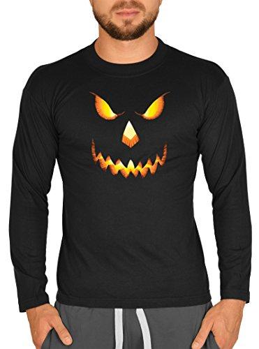 Gruseliges Fun Halloween Langarmshirt longsleeve für Herren Männer böser Kürbis Kürbisgesicht Farbe schwarz Schwarz