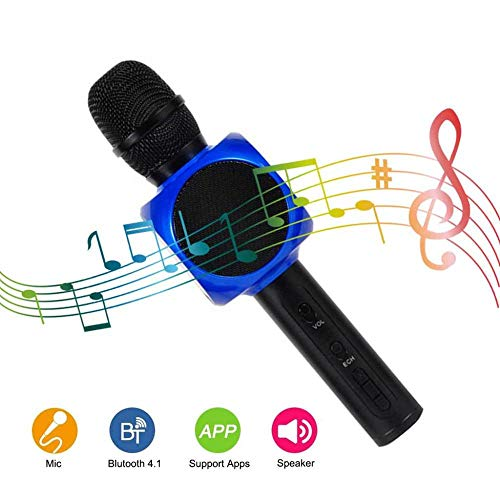 KaiMaik Drahtlose Bluetooth-Karaoke Mikrofon Lautsprecher-Mikrofon-Player-Recorder mit Handy-Halter...