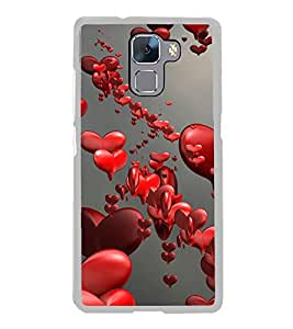 Love Hearts 2D Hard Polycarbonate Designer Back Case Cover for Huawei Honor 7 :: Huawei Honor 7 Enhanced Edition :: Huawei Honor 7 Dual SIM