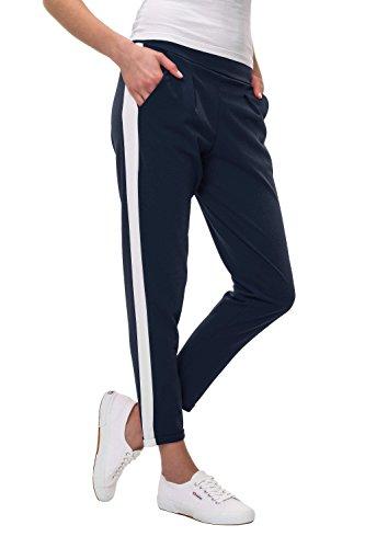 Hachiro Damen Freizeithose Jogginghose Hose Sportswear Style (S, Navy/White Stripe)