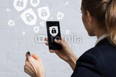 Wunschmotiv: Button locked shield virus security business online credit card smartphone #118732752 - Bild als Foto-Poster - 3:2 - 60 x 40 cm / 40 x 60 cm (Security Card Shield)