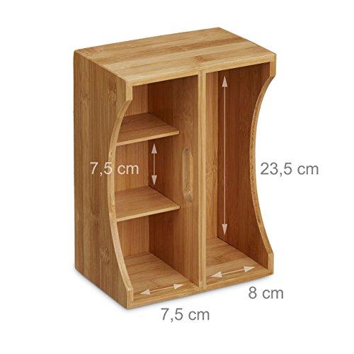 Relaxdays Schreibtischorganizer Bambus, Stifteköcher, 4 Fächer, Griff, natürliche Maserung, HxBxT: ca. 12 x 25 x 18 cm, natur - 4