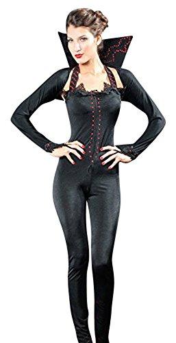 Königin Dunkle Kostüm (Damen 2 Stück Hexe Dunkle Königin Kostüm Jumpsuit Bolero und Kragen Größe)