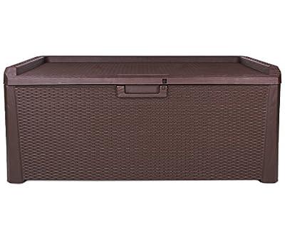 Kissenbox Santo Rattan Optik Sitztruhe Auflagenbox braun 560 Liter XXL von Ondis24 - Du und dein Garten