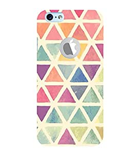 FUSON Colorful Triangles Watercolor Drawing 3D Hard Polycarbonate Designer Back Case Cover for Apple iPhone 6S (Logo View Window Case)