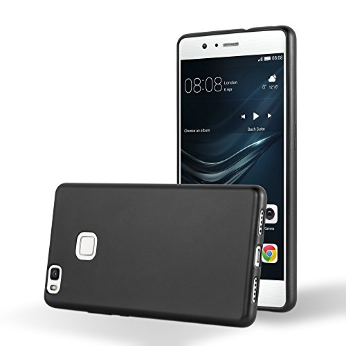 Cadorabo de-103991 - cover in silicone tpu per huawei p9 lite, finitura metallizzata, ultra sottile, colore nero