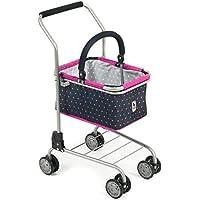 Bayer Chic 200076112–Carrello giocattolo da supermercato con cestino, Dots, blu/rosa
