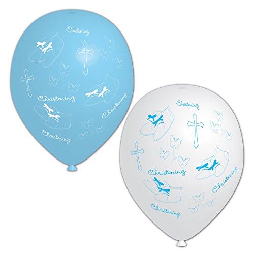 Amscan - Juego de 6 globos para bautizo, color blanco y azul